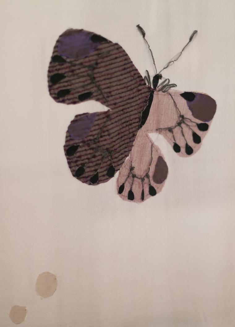 текстильный коллаж, бабочка, алена фомина