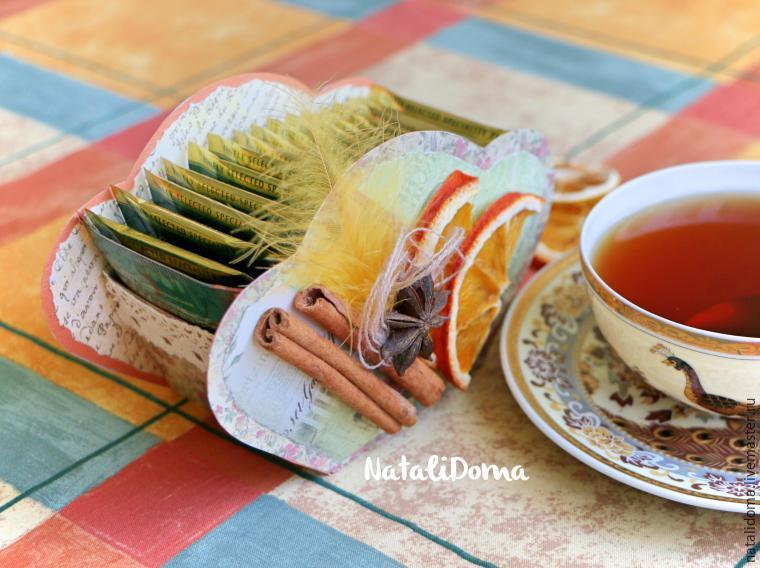 коробочка для чая, чай, чайная шкатулка, скрапбукинг, декор