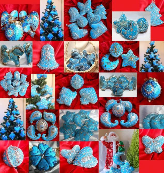 новогодняя елка, елочные игрушки бархат, рождество, игрушки ручной работы