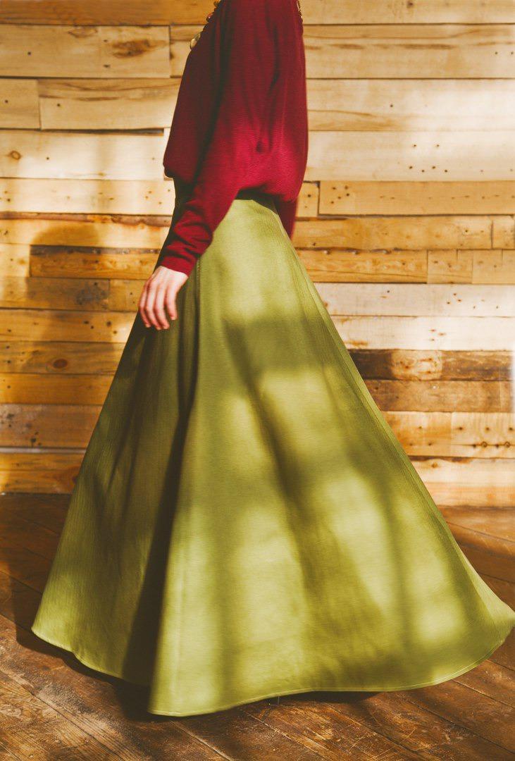 юбка, длинная, зелёный, годе, однотонная, русский, народный