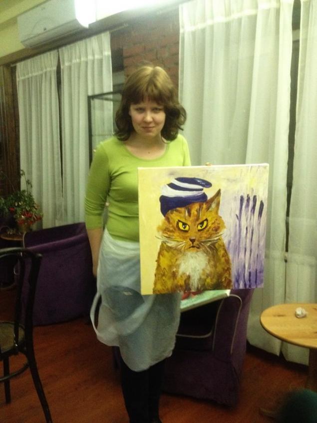 портрет кота, обучение рисованию, мастер-класс, картина
