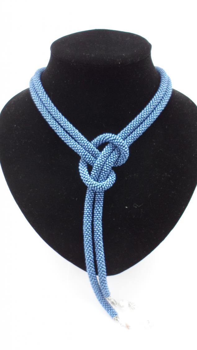 Лариат-трансформер из бисера сине-серого цвела. размер 160 см. можно носить как пояс.