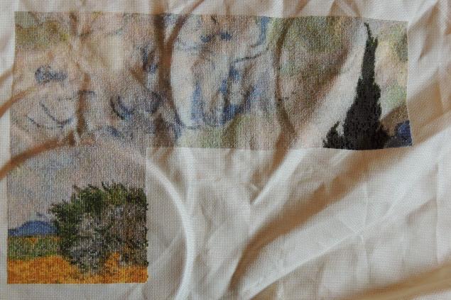 Вышивка пшеничное поле с кипарисами 52
