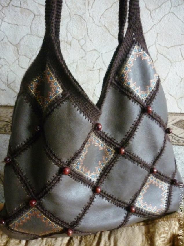 Вязаные сумки с кожей Обсуждение на LiveInternet