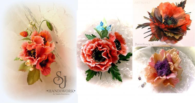 цветы из ткани, брошь с цветком