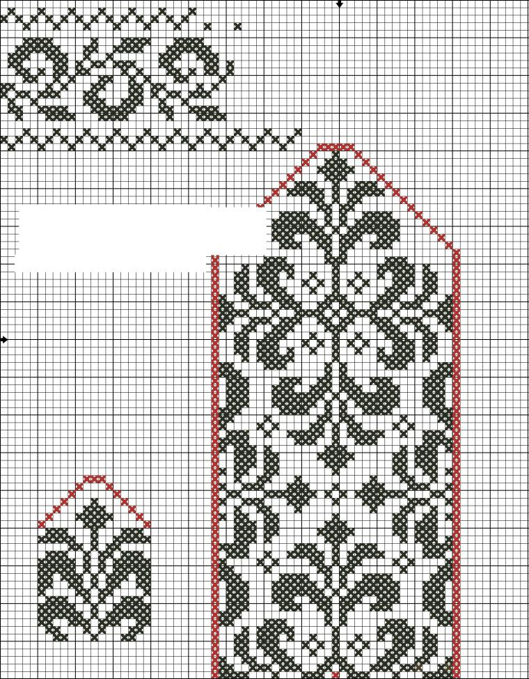 схема вязания узора на варежке