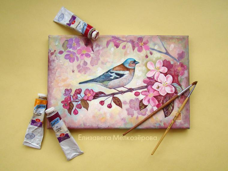 птица, картина с цветами