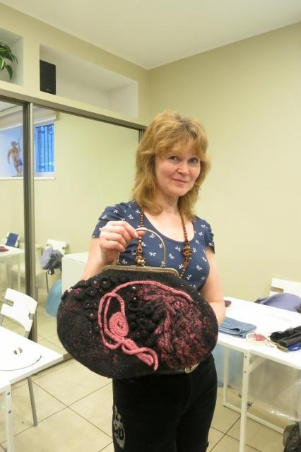 Фотоотчет по валянию сумки с мастером Ириной Бобковой., фото № 33