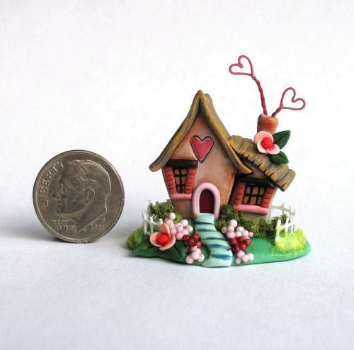 Miniature Love Shack Whimsical Fairy Valentine Cottage OOAK C Rohal