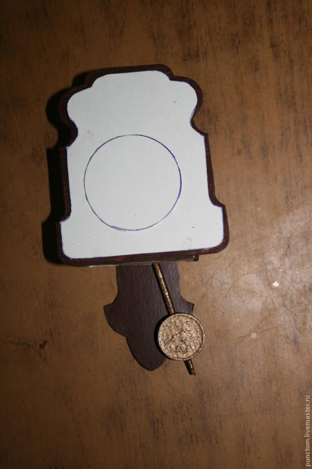 Часы-ходики из спичечного коробка в кукольный дом, фото № 5