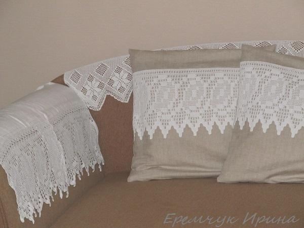 вязаные подушки, провинция