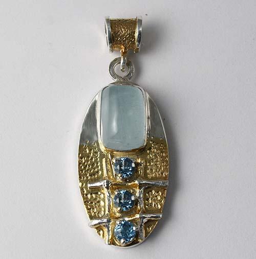 аукцион, аукцион сегодня, авторская работа, серебряный кулон, голубой топаз