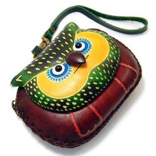Nova Brown Couro Amarelo Coruja pulseira Coin Purse Carteira Bolsa   eBay