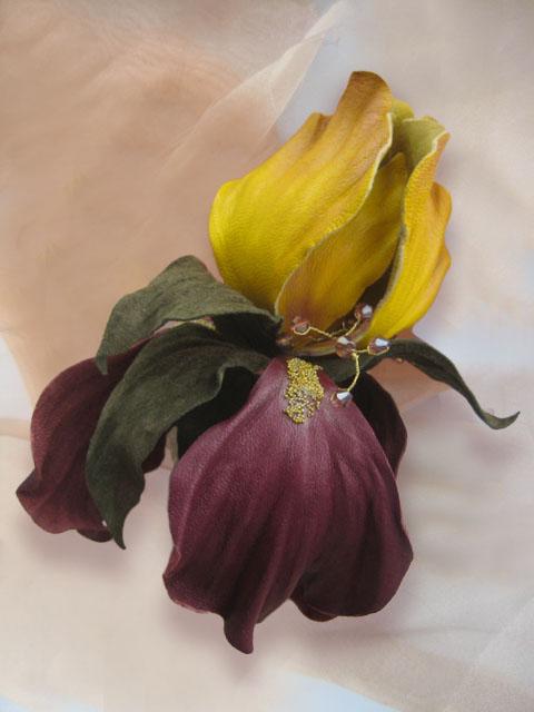 кожаные цветы, кожаные украшения