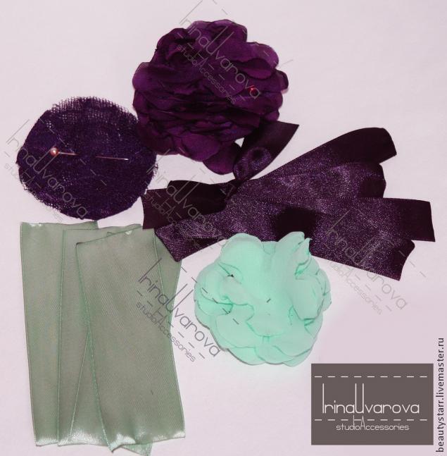 авторское украшение, пурпур фиолетовый, украшение из ткани