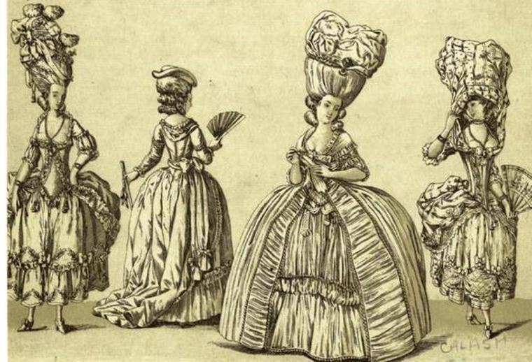 прическа a-la belle poule, 18 век
