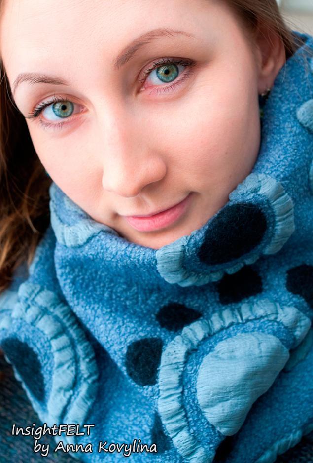 нунофелтинг, шарф с орнаментом