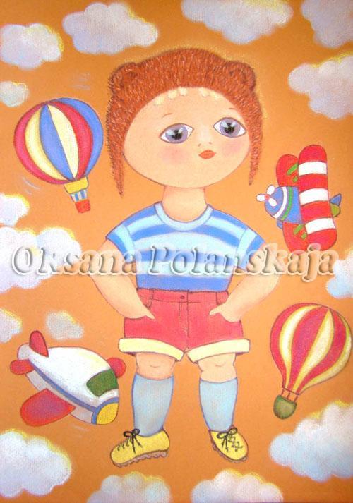 детская, дети, картина для мальчика, небо, детские мечты