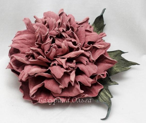 кожаные цветы, цветы ручной работы, обучение цветоделию, пион