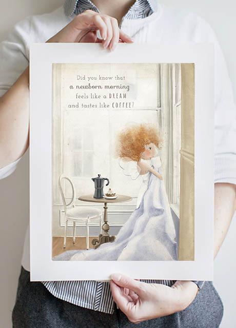 Morning Coffee Fairy A3 Print