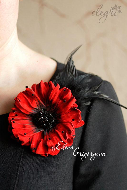 красный мак, цветы своими руками, красная брошь