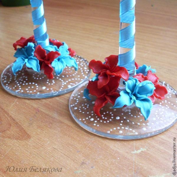 Свадебные бокалы, цветы из пластики, фото № 21