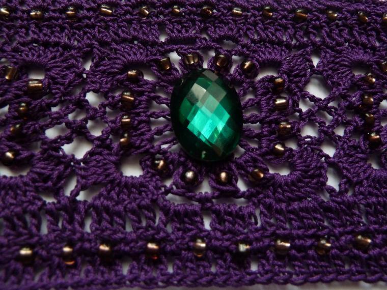 фиолетовый, вязание с бисером
