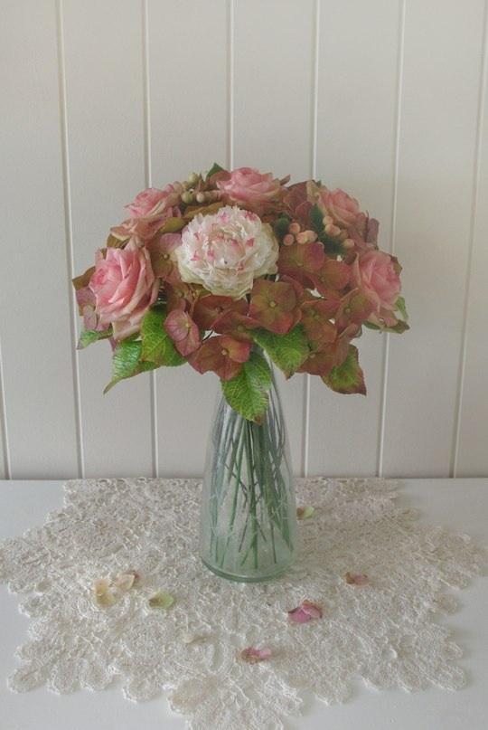 букет, полимерная глина, холодный фарфор, интерьерная композиция, розы, пион, подарок, подарок своими руками, глина, винтажный стиль