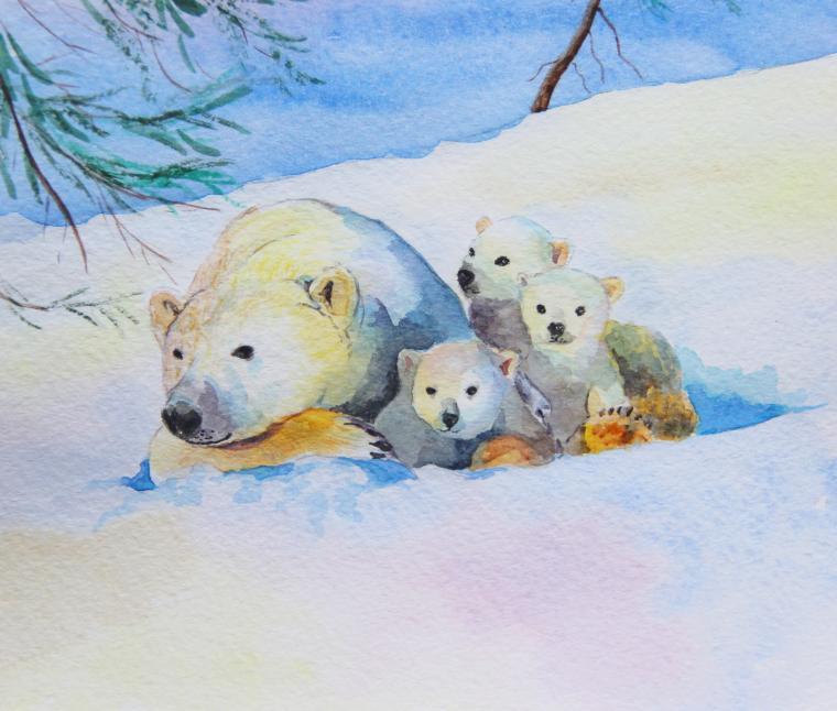 картина в детскую, мишка, север, для детей