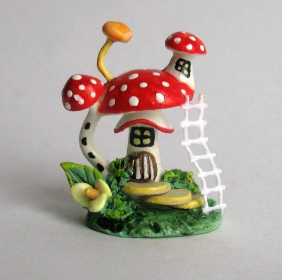 Miniature OOAK FAIRY TOADSTOOL HOUSE with LADDER
