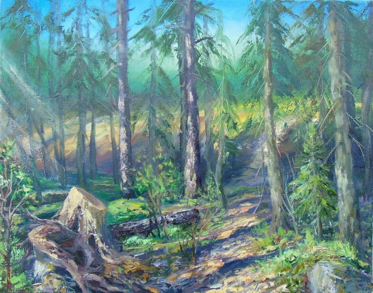 рисуем пейзаж, плэнер, этюд, картина маслом, лес