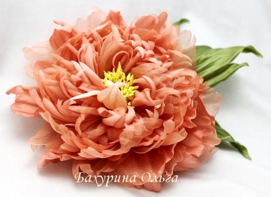 брошь, цветы из шелка, пионы