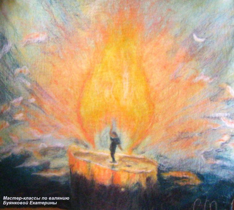 Мастер-класс по мокрому  валянию картин из шерсти - шерстяная акварель, фото № 1