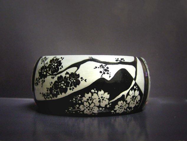 роспись, деревянный браслет