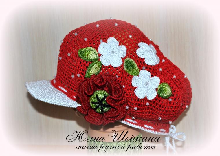 шапочка крючком, кепка для мальчика, кепка летняя, кепочка, панама для девочки