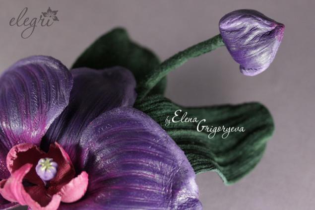мастер-класс цветы, орхидея-брошь, фиолетовая орхидея