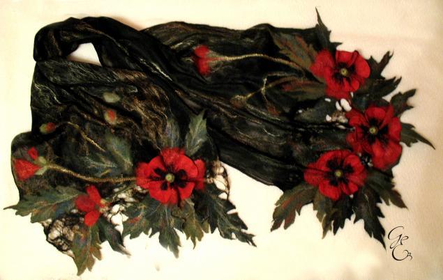 нуно-войлок, цветы