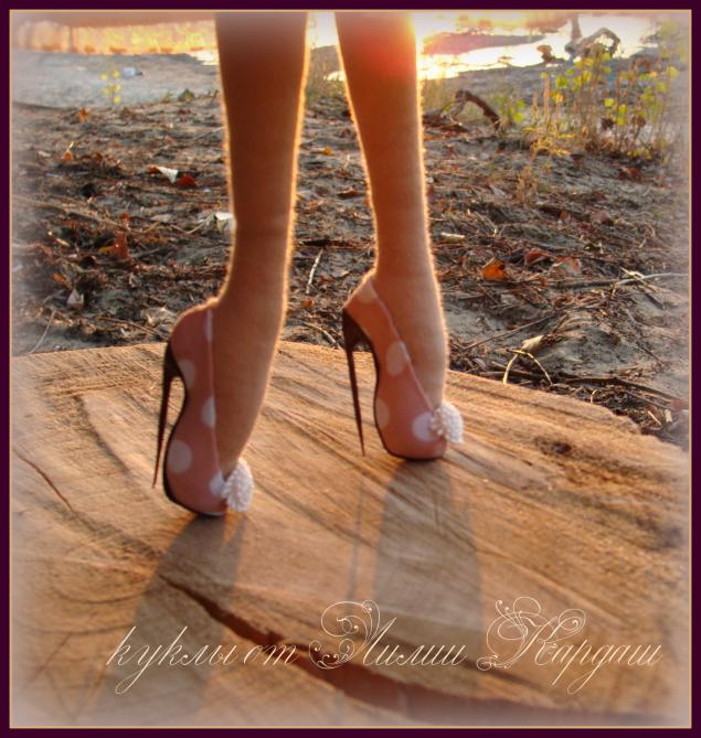 Туфли на каблуке для текстильной куклы.  Способ без колодки.