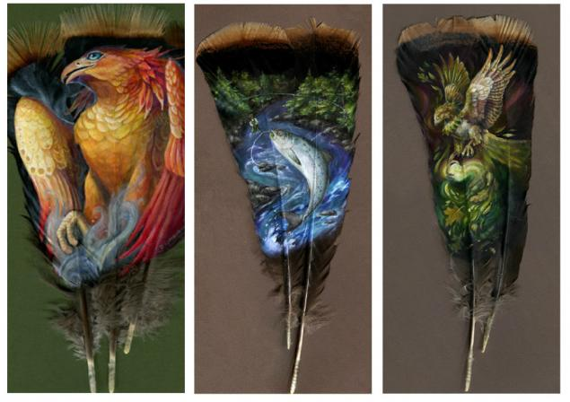 Картинки по запросу Потрясающая живопись на птичьих перьях. Автор: Brenda Lyons