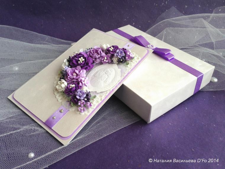 открытка в коробочке, красиво дарим деньги, фиолетовый, свадебный комплект