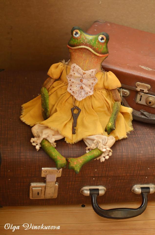 лягушка, ольга винокурова, винтажные лягушки, винтаж, игрушка ручной работы, авторская игрушка, кофейная игрушка