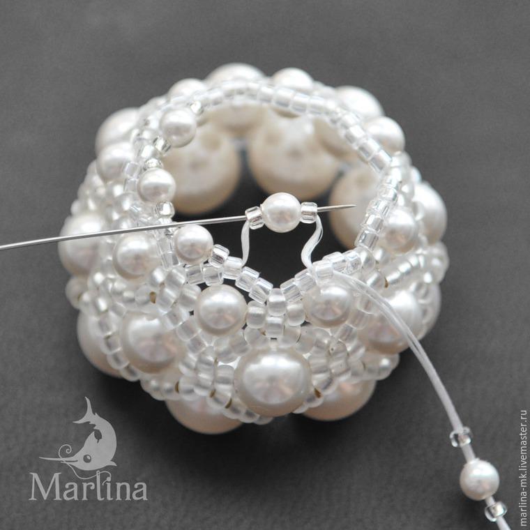 Jellyfish Pendant DIY with Pearls and Swarovski Crystals, фото № 17