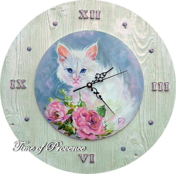 часы, живопись на дереве
