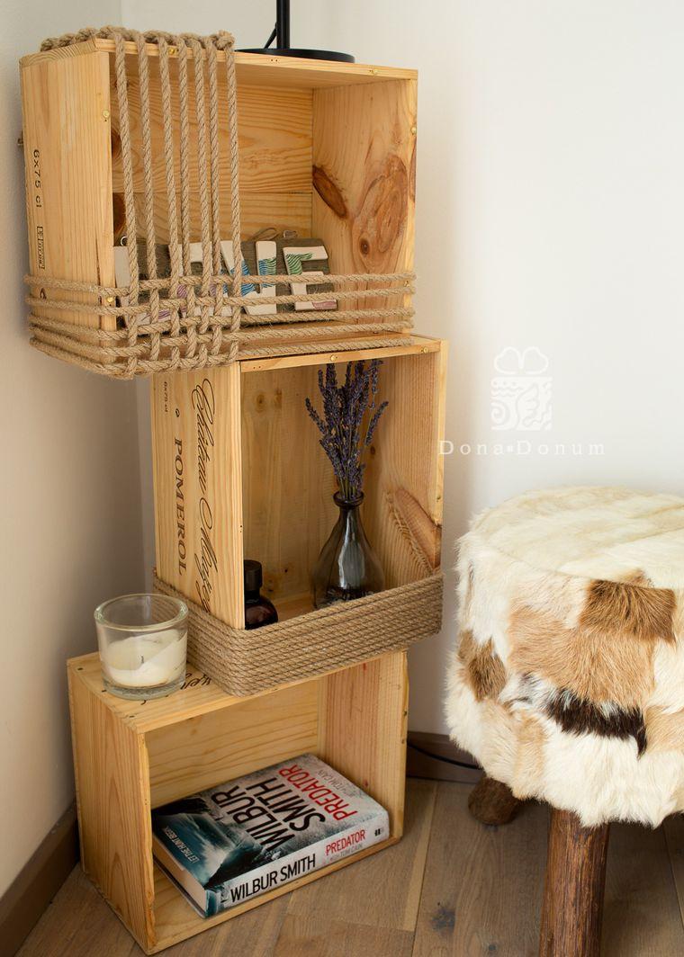 декор, виннная коробка, полка, подставка для торшера, стиль рустик