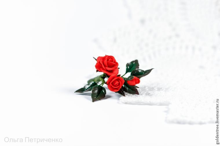 полимерная глина, брошь цветок