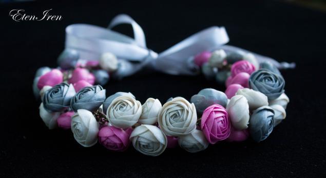 ожерелье, цветы, цветы из полимерной глины, свадебные украшения