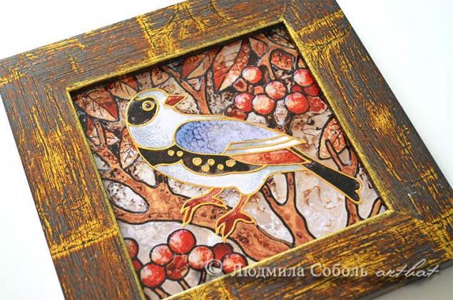 печать на плитке, птица