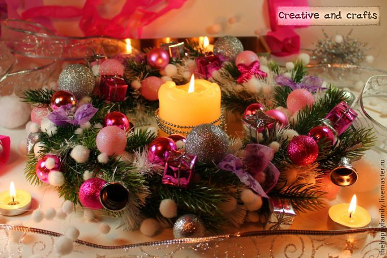 новогодний дизайн, украшение дома, украшение стола, венок на рождество, венок из шаров