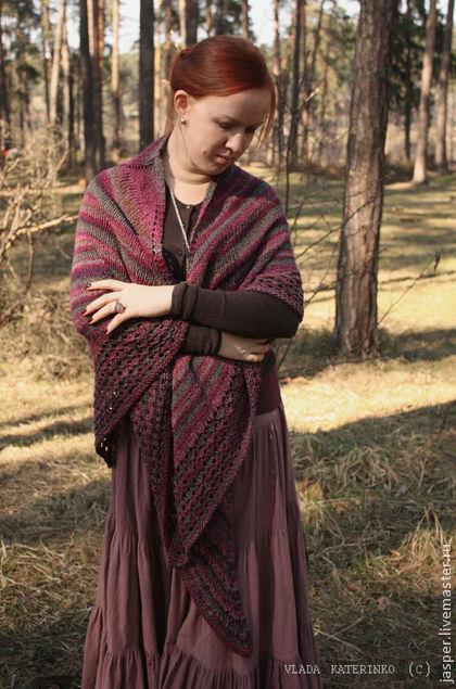 шаль, шёлк, хлопок, готовая работа, в наличии, шёлковая шаль, пряжа с шёлком, платок, подарок, ручная вязка