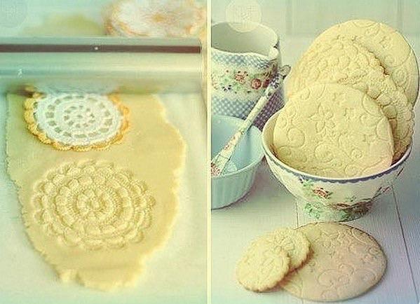 вязаная салфетка, печенье